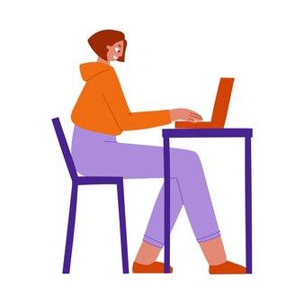 Eine frau sitzt an einem tisch und arbeitet an einem flach gezeichneten laptop