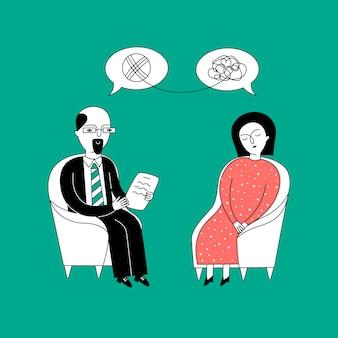 Eine frau sitzt auf einem stuhl beim termin eines psychologen.