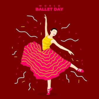 Eine frau tanzt anmutig im ballett - weltballetttag vektor