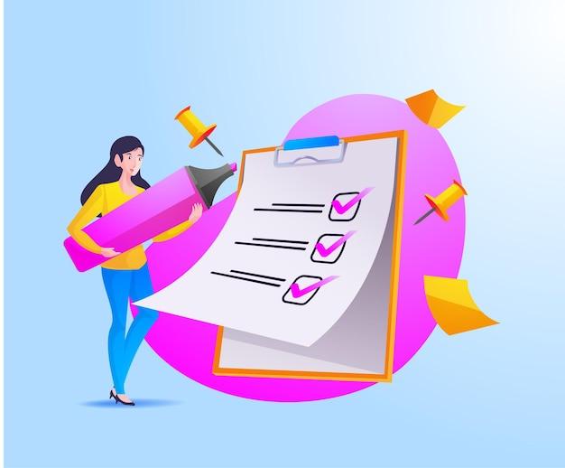 Eine frau vollständige checkliste auf zwischenablage und papierkram