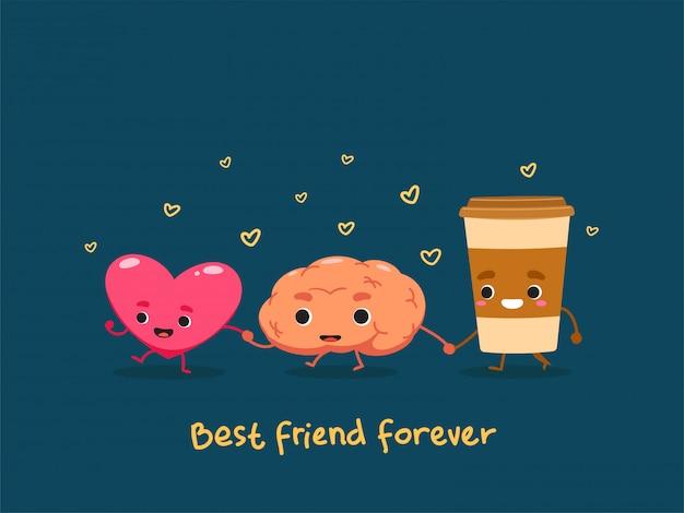 Eine freundschaft zwischen dem herzen, dem gehirn und dem kaffee.