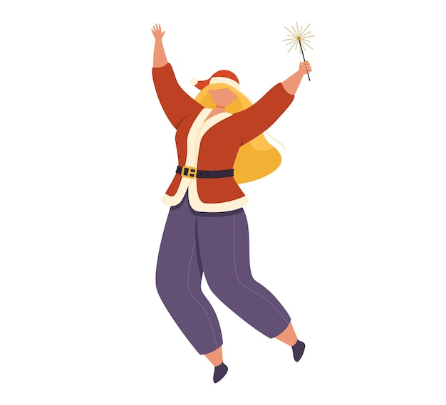 Eine fröhliche frau in weihnachtskleidung springt mit einem bengalischen licht in der hand