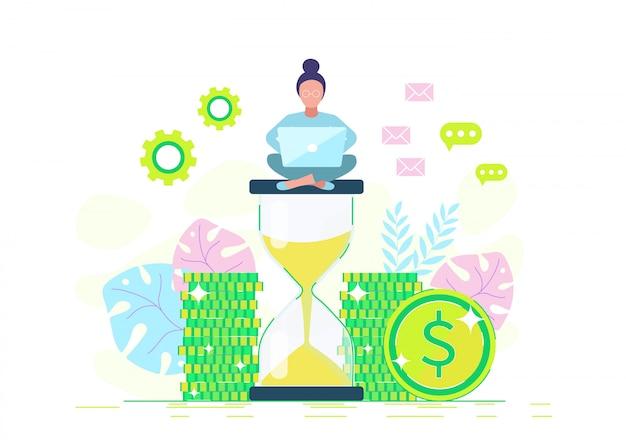 Eine geschäftsfrau sitzt auf einer sanduhr und verdient geld. illustration in einem stil