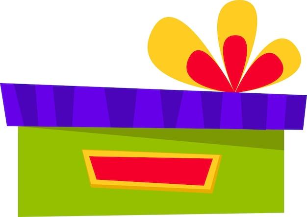 Eine geschenkbox in verschiedenen farben mit großer schleife für alle feiertage im flachen stil