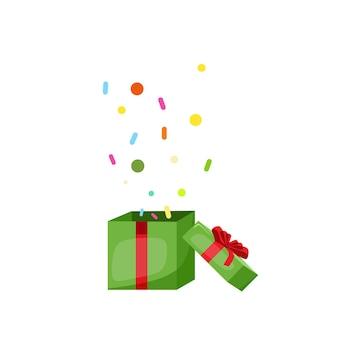 Eine geschenkbox mit konfetti das konzept der weihnachtsvektorkarikaturillustration
