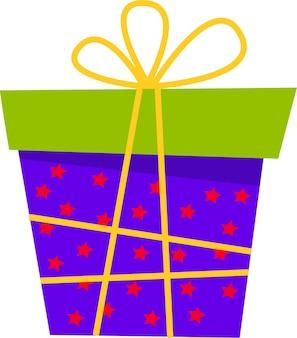 Eine geschenkbox mit schleife für alle feiertage in einem flachen stil eine reihe verschiedener boxen auf weißem hintergrund
