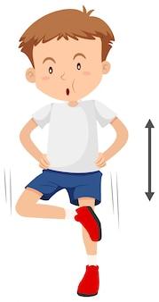 Eine gewichtstrainingübung des jungen mannes