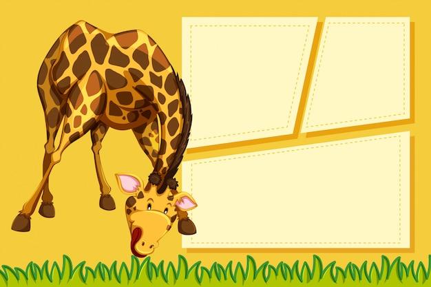 Eine giraffe auf leere notiz