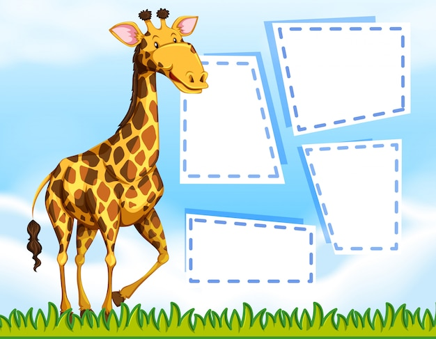 Eine giraffe auf unbelegte anmerkungsschablone