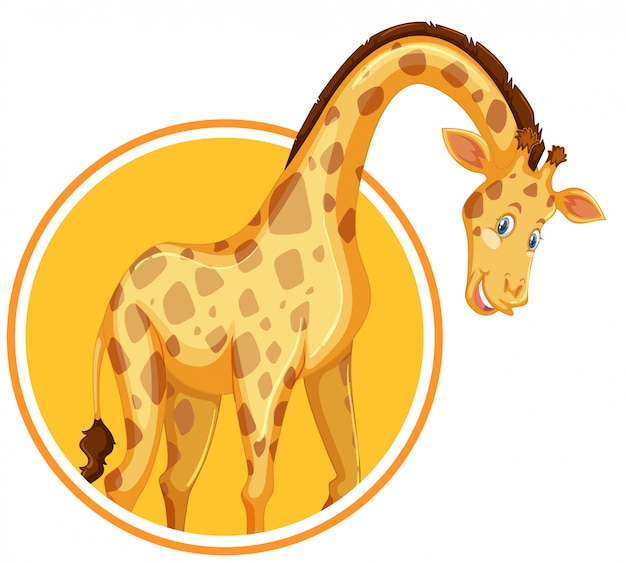 Eine giraffen-aufkleber-vorlage