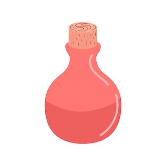 Eine glasflasche mit einem zaubertrank. ein zaubertrank. elixier. flache vektorillustration. design für halloween, einladungskarten, grußkarten, druck. nette kleine flasche hexentrank.vector