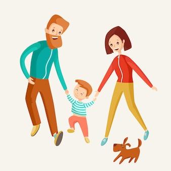 Eine glückliche familie geht zusammen.
