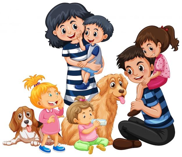Eine glückliche familie und ein haustier