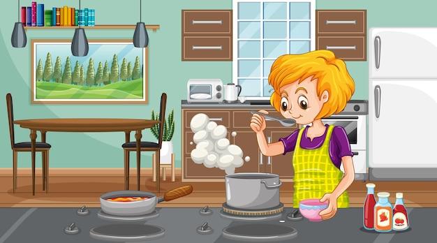 Eine glückliche frau, die in der küchenszene kocht