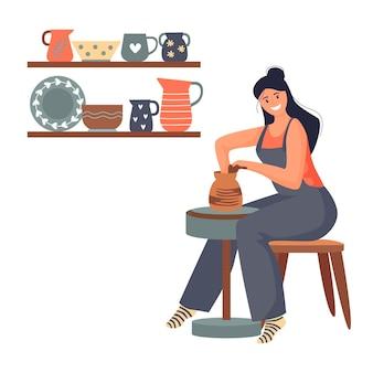 Eine glückliche junge frau, die einen keramiktopf auf der töpferscheibe in der werkstatt macht. vektor-illustration