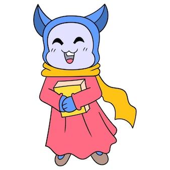 Eine glückliche muslimische weibliche katze, die das heilige buch trägt, vektorillustrationskunst. doodle symbolbild kawaii.