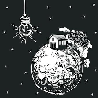 Eine glühbirne beleuchtet einen planeten mit einem haus und einem baum.