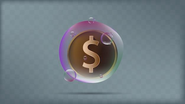 Eine goldene dollarmünze in der transparenten bunten blase