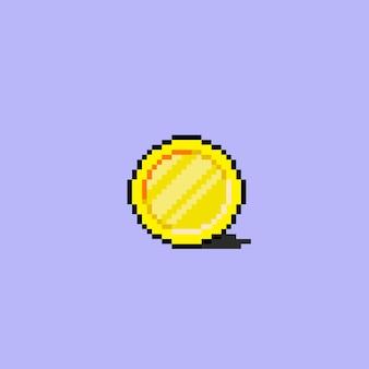 Eine goldene münze im pixel-art-stil