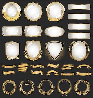 Eine goldene sammlung verschiedener bänder kennzeichnet lorbeeren und schilde
