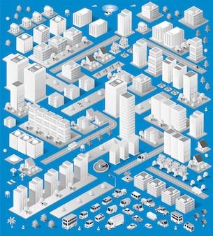 Eine große anzahl isometrischer urbaner objekte. eine reihe von städtischen gebäuden, wolkenkratzern, häusern