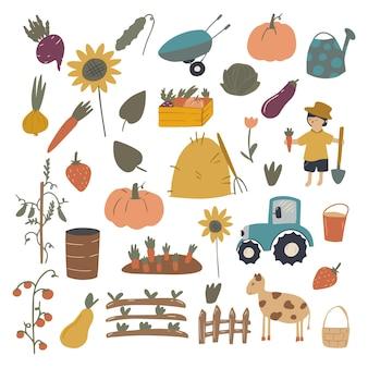 Eine große anzahl von elementen und charakteren der cartoon-farm. eine person, werkzeuge, nutztiere, ein traktor, auf weißem hintergrund hervorgehobenes gemüse, obst.