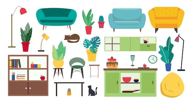 Eine große auswahl an möbeln und accessoires für den innenraum. karikaturartillustration