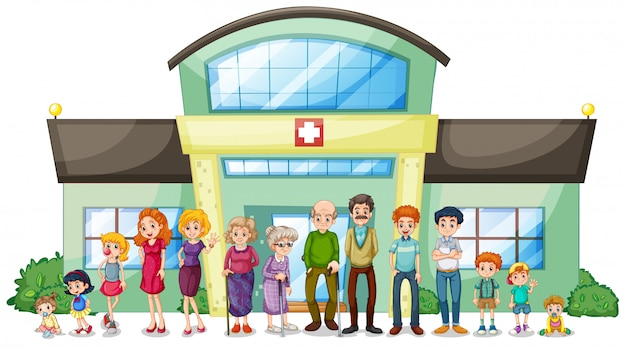 Eine große familie außerhalb des krankenhauses