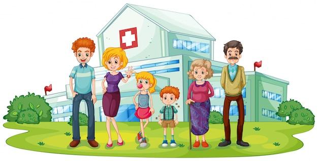 Eine große familie in der nähe des krankenhauses