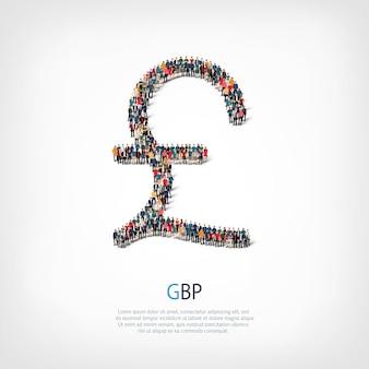 Eine große gruppe von menschen in form des zeichens pfund sterling. illustration.