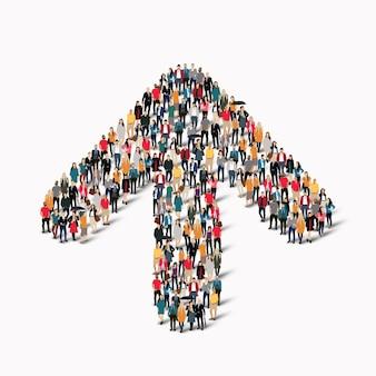 Eine große gruppe von menschen in form einer pfeilrichtung. illustration