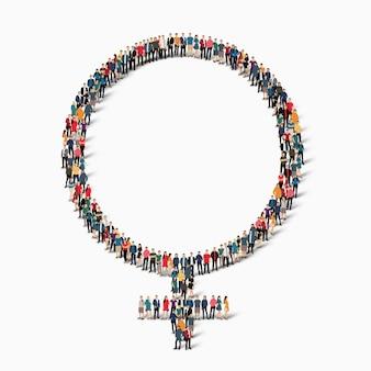 Eine große gruppe von menschen in form einer weiblichen figur. illustration.