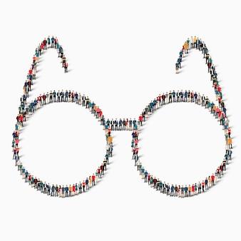 Eine große gruppe von menschen in form einer zeichenbrille ikone.