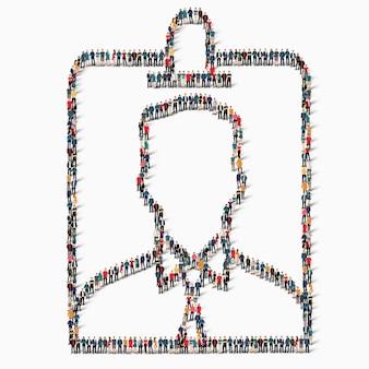 Eine große gruppe von menschen in form eines abzeichensymbols.
