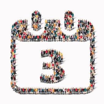 Eine große gruppe von menschen in form eines kalenderdatums symbol urlaub. illustration