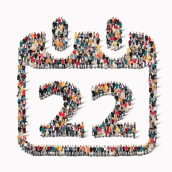 Eine große gruppe von menschen in form eines kalenderdatums symbol urlaub