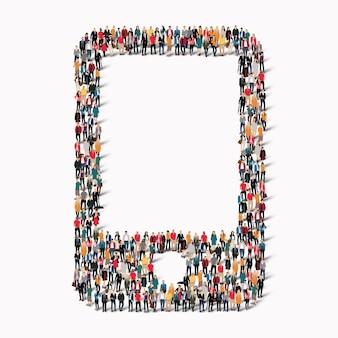 Eine große gruppe von menschen in form eines telefons. illustration