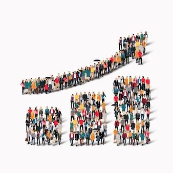 Eine große gruppe von menschen in form eines wachsenden graphen