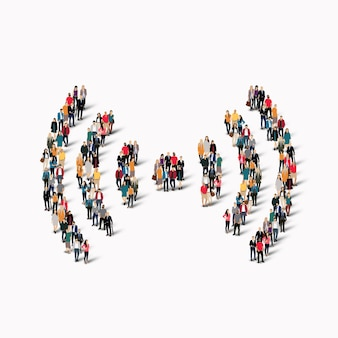 Eine große gruppe von menschen in form eines wi-fi-zeichens.
