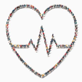 Eine große gruppe von menschen in form eines zeichens des herzens, des herzens, der medizin, der ikone.