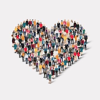 Eine große gruppe von menschen in form von herz, liebe.