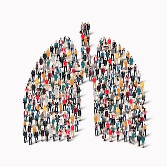 Eine große gruppe von menschen in form von lungen humanmedizin.