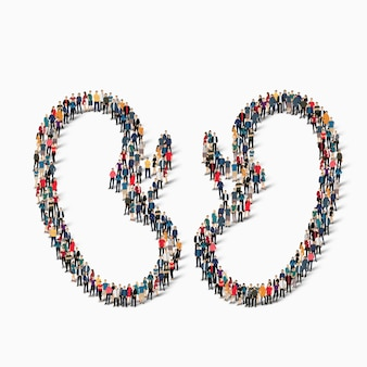 Eine große gruppe von menschen in form von nieren-humanmedizin. illustration