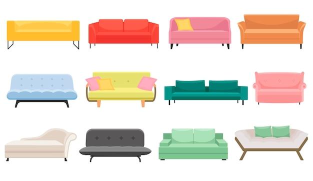 Eine große reihe von sofas. möbel für schlafzimmer und wohnzimmer. vektor im karikaturstil. für websites. modernes innendesign.