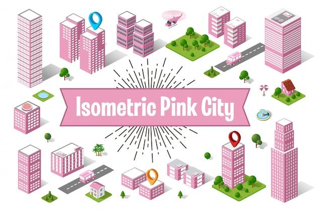 Eine große rosafarbene stadt isometrischer städtischer objekte. eine reihe von städtischen gebäuden, wolkenkratzern