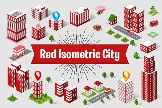 Eine große rote stadt isometrischer städtischer objekte. eine reihe von städtischen gebäuden, wolkenkratzern, häusern