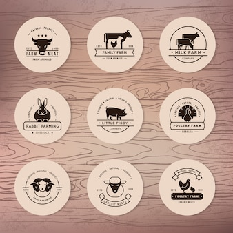 Eine große sammlung von vektor-logos für landwirte, lebensmittelgeschäfte und andere branchen.