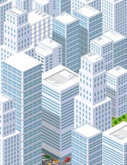 Eine große stadt mit isometrischen urbanen objekten. eine reihe von städtischen gebäuden, wolkenkratzern