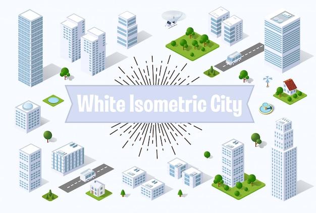 Eine große weiße stadt mit isometrischen städtischen objekten.