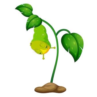 Eine grüne pflanze mit glücklichen raupen
